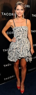 Maria Menounos in Black and White Alice and Olivia Dress