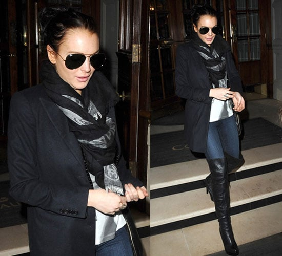 Lindsay Lohan in Scarf and Over-the-Knee Boots in London
