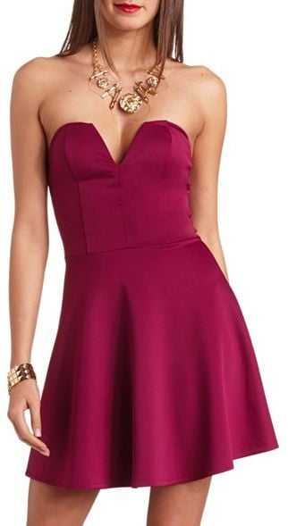 Charlotte Russe plunging sweetheart-neckline strapless scuba dress ($27)