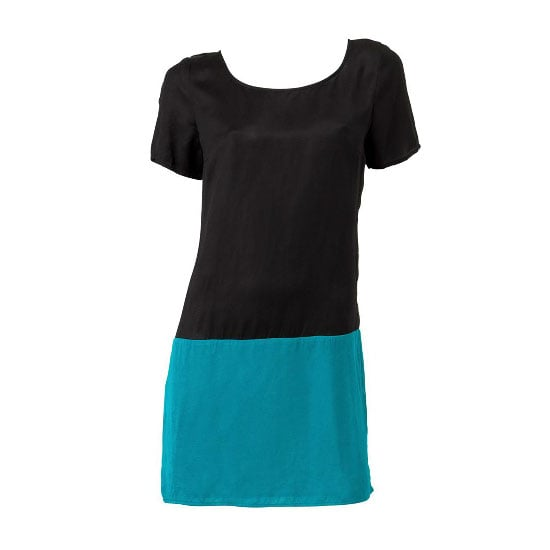 Take a minimalist route for your next party and stand out for the right reasons. A solid heel will make this two-tone shift work. Colour Blocked Shift Dress, $99.95, Sportsgirl