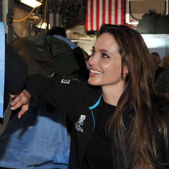 Pictures of Angelina Jolie at Ramstein Air Base