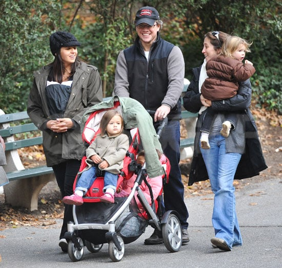 Pictures of Matt and Luciana Damon Out in Central Park With Newborn Stella