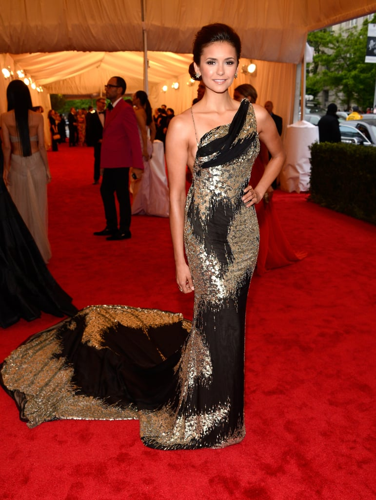 Nina Dobrev's Donna Karan dress had a gorgeous train.