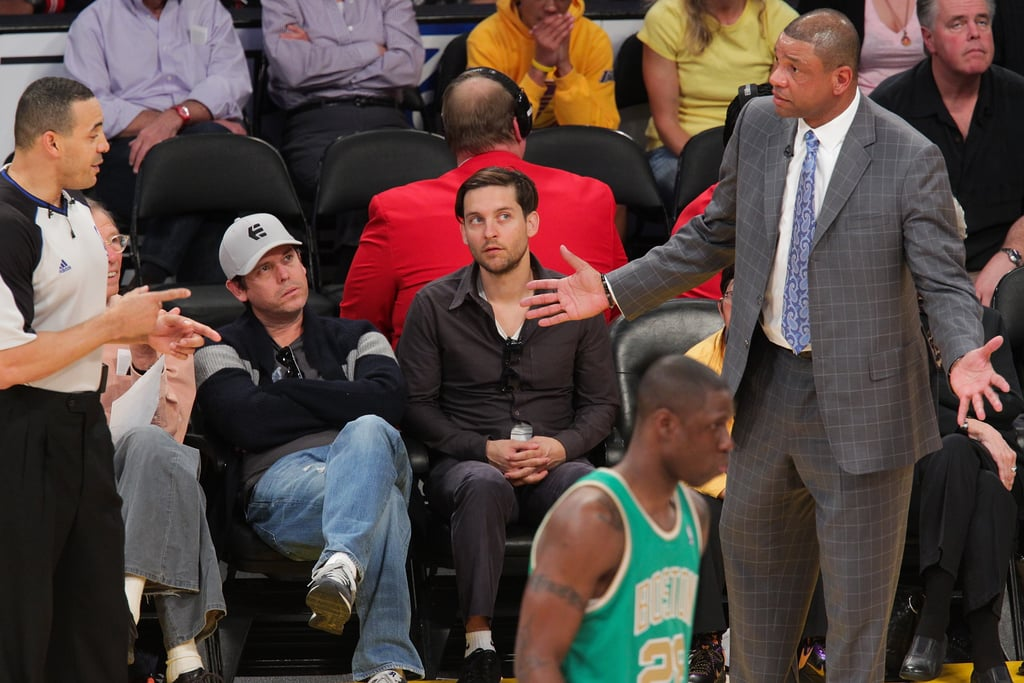 Tobey Maguire was at the Lakers game.