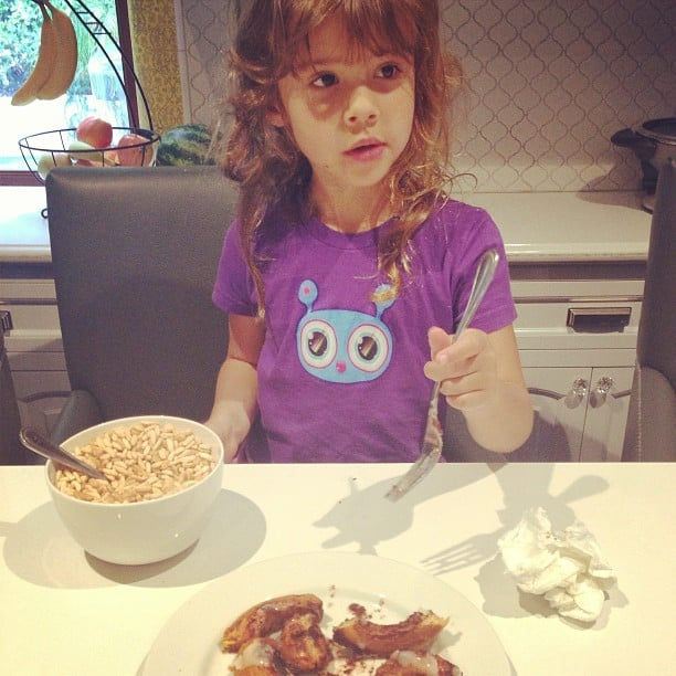 On the morning of her fifth birthday, Honor Warren got exactly what she wished for — cereal and cinnamon rolls. Source: Instagram user cash_warren