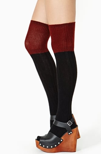 To go with your over-the-knee boots, you'll need these Nasty Gal Double Take thigh-highs ($22), of course.