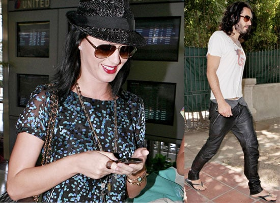 Photos of Katy Perry at the Airport and Russell Brand in LA
