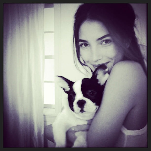 Lily Aldridge snuggled with a furry friend. Source: Instagram user lilyaldridge
