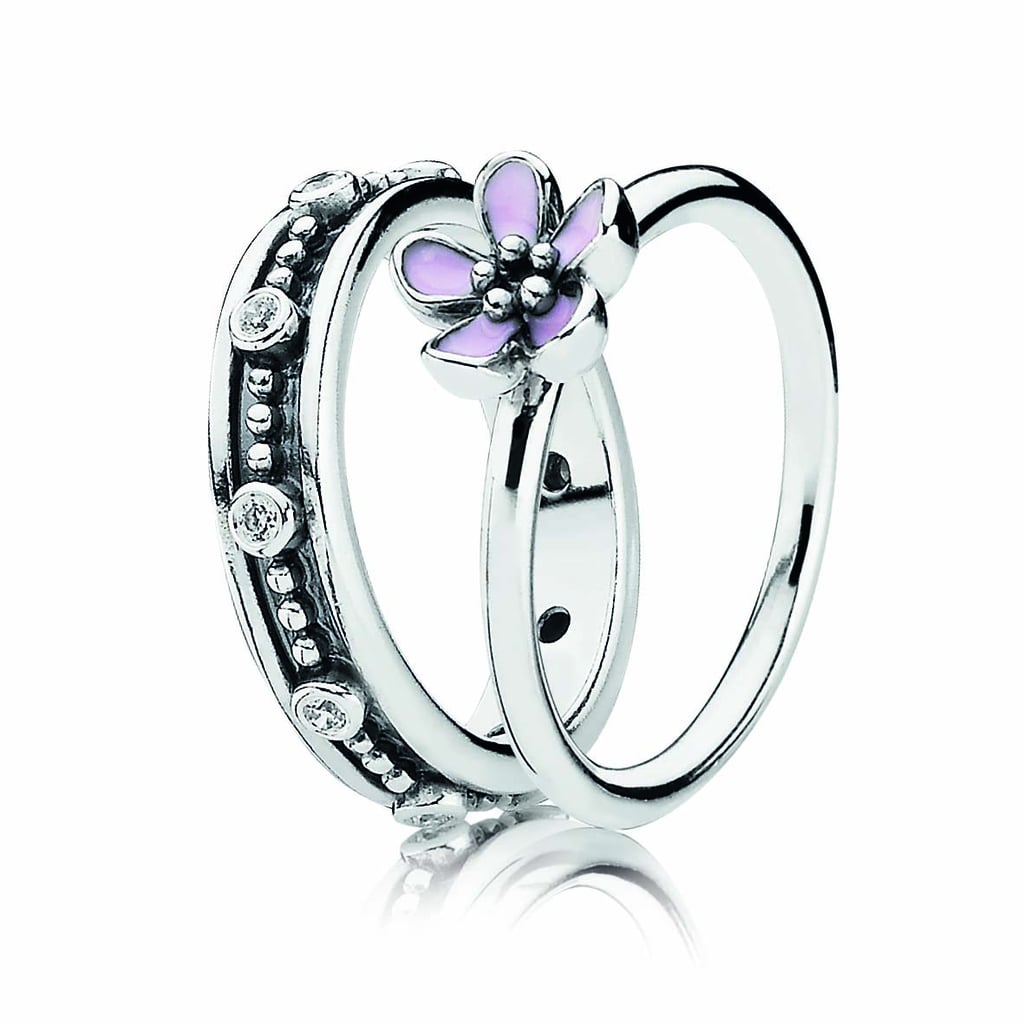 PANDORA silver zirconia ring $69 and fine silver cherry blossom ring $49.