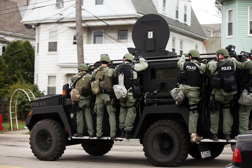 A police unit drove through Watertown looking for the suspect.