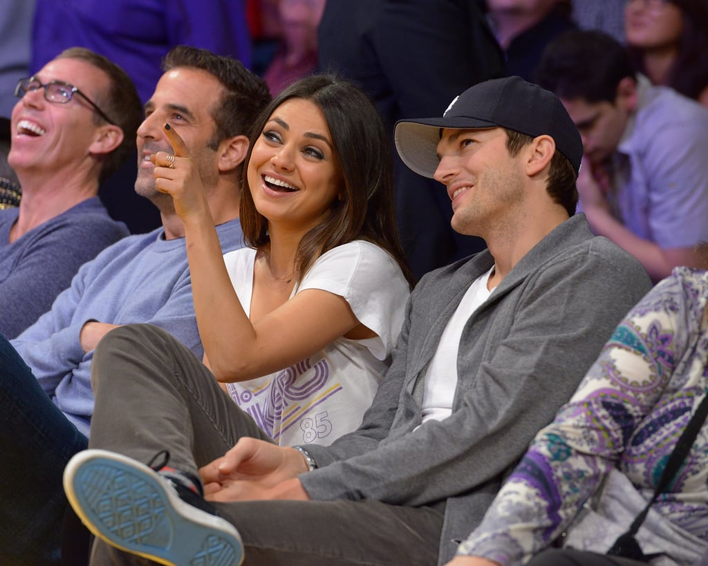 Mila Kunis and Ashton Kutcher checked out the Lakers game together in February.