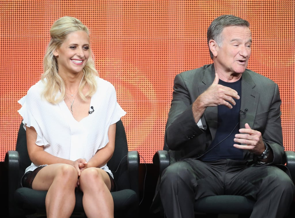 "Sarah Michelle Gellar ""It's sort of like when my 3-year-old says something really inappropriate and it's really funny but I can't laugh . . . that's kind of like working with Robin."" — On her hilarious costar, at the panel for The Crazy Ones"