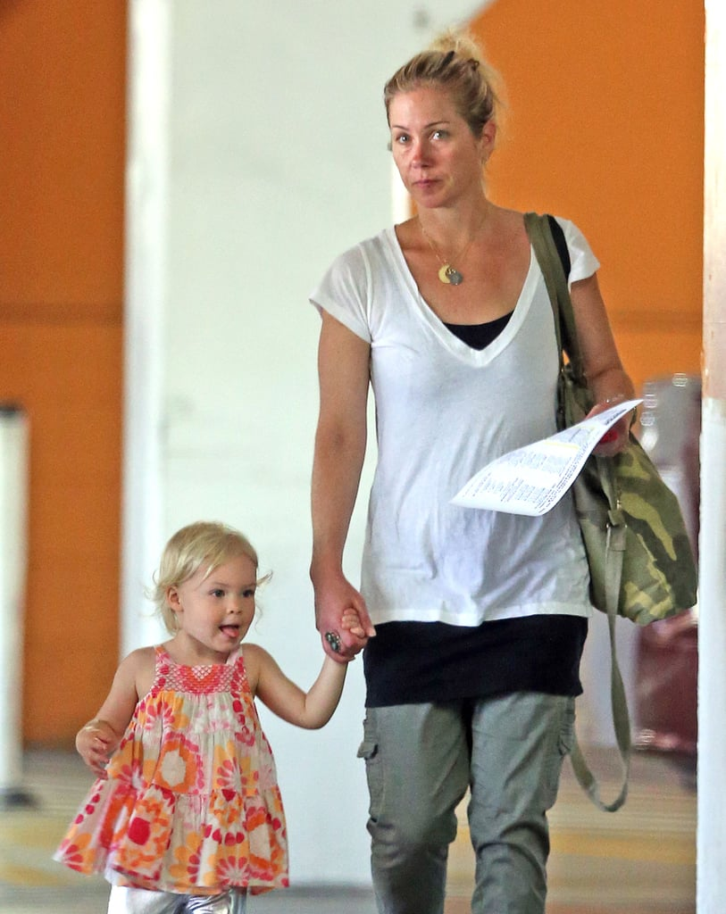 Christina Applegate held her daughter Sadie's hand as they left a gym in LA.