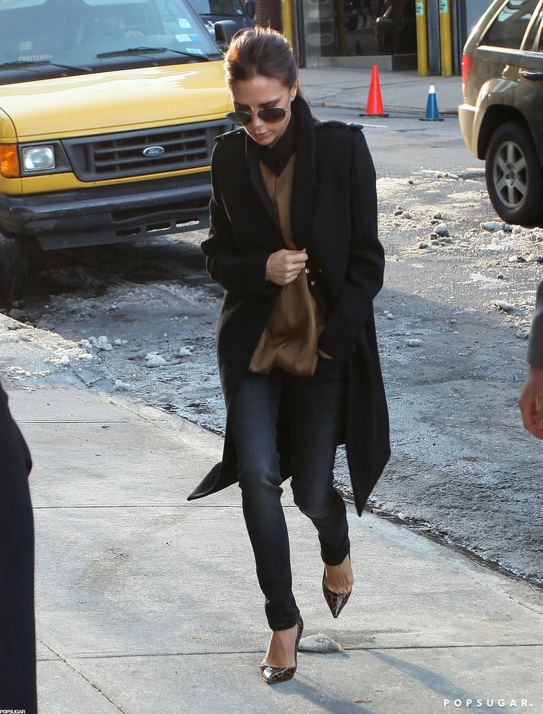 Victoria Beckham arrived to show her Victoria Victoria Beckham Collection.