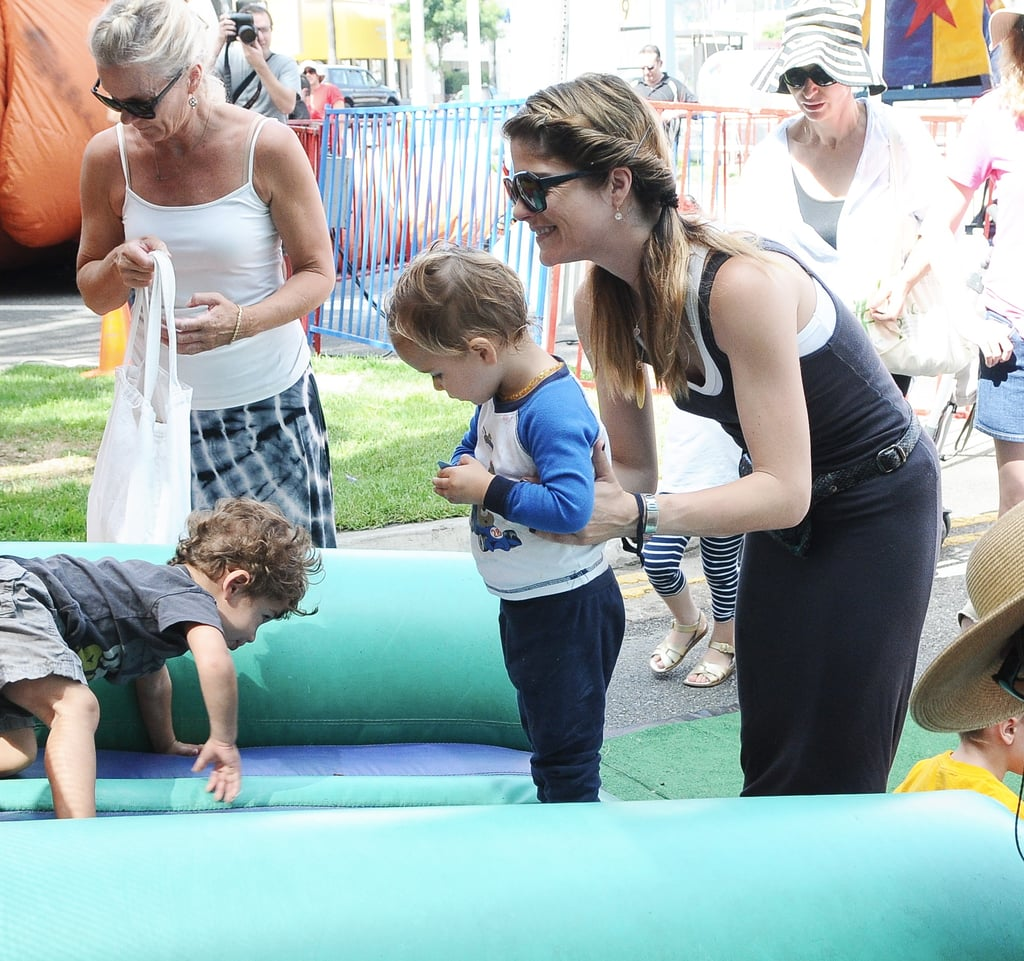 Selma Blair played with her son, Arthur Bleick, at the farmers market in LA.