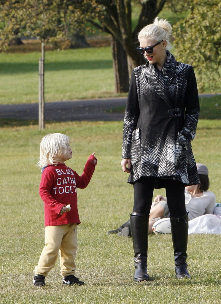 Zuma wore a red graphic sweater to the park.