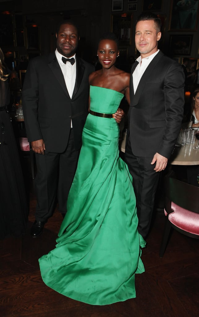 Steve McQueen, Lupita Nyong'o, and Brad posed at E One's party.