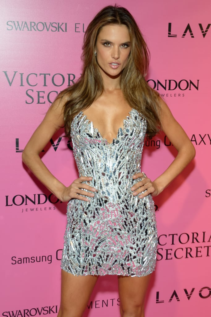 Alessandra Ambrosio wore a silver dress at the Victoria's Secret Fashion Show after party in NYC.