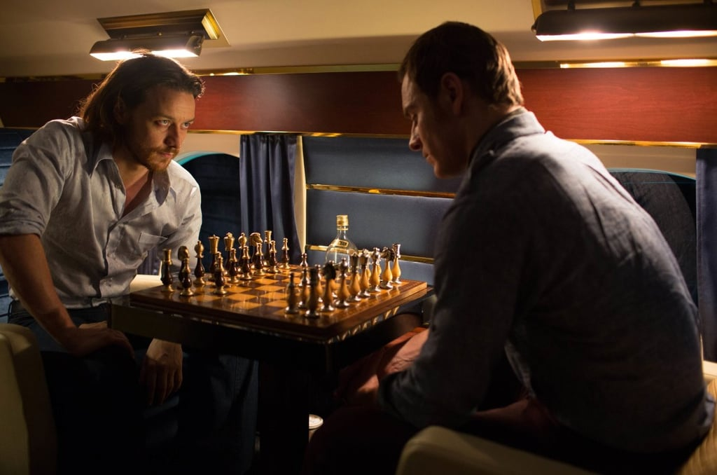 Professor Charles Xavier (Patrick Stewart) and Erik Lehnsherr, aka Magneto (Michael Fassbender), engage in a friendly game of chess.
