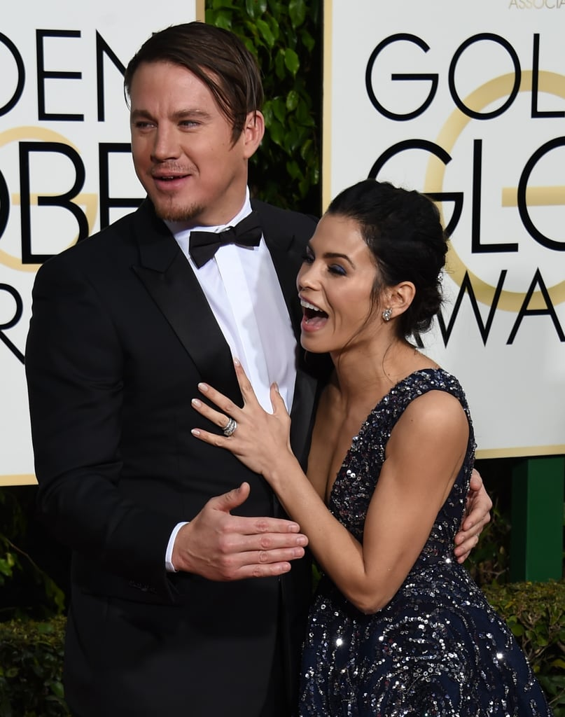 Channing and Jenna got excited to see celebrity friends on the red carpet at the Golden Globes in January 2016.