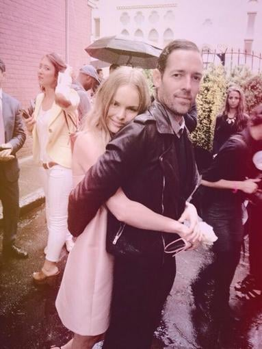 "Kate Bosworth was ""loved up"" with her fiancé, Michael Polish, at the Stella McCartney preview in Brooklyn, NY. Source: Twitter user katebosworth"