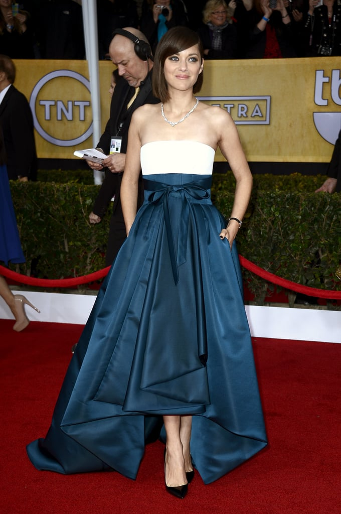 Marion Cotillard's Christian Dior Haute Couture strapless dress was colorblocked perfection.