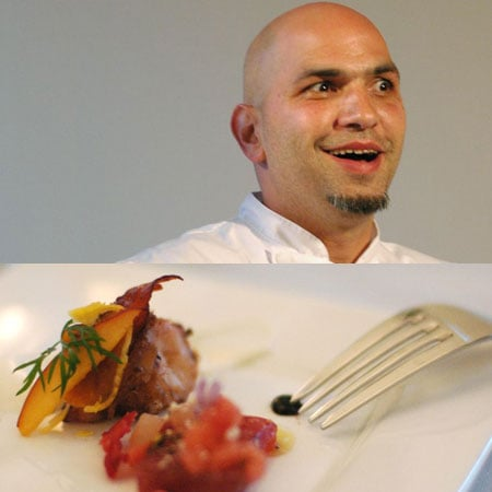 From New York, Michael Psilakis of Anthos brought tuna with watermelon three ways, feta cheese, and smoked octopus with peaches and yogurt.  The octopus was surprisingly nonrubbery and the flavors blended superbly.