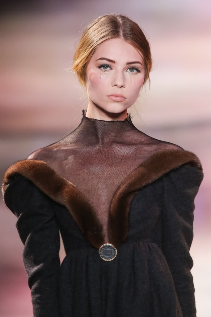 A mock turtleneck in luxuriously thin crepe and fur accents demanded a closer inspection at the Ulyana Sergeenko Haute Couture Fall 2013 show.