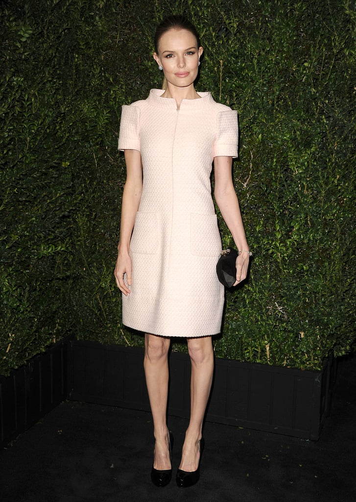 Kate Bosworth stepped out in an ultrastructured pink Chanel dress, and like Chastain's, it's also from the Spring '13 Haute Couture collection.