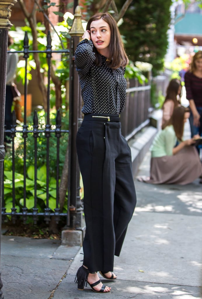 Anne Hathaway got to work on the NYC set The Intern on Tuesday.