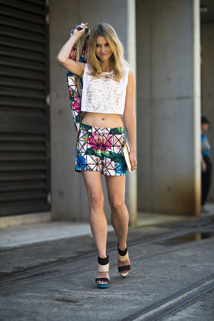 A crop top and floral suiting were a statement-making duo. Source: Le 21ème | Adam Katz Sinding