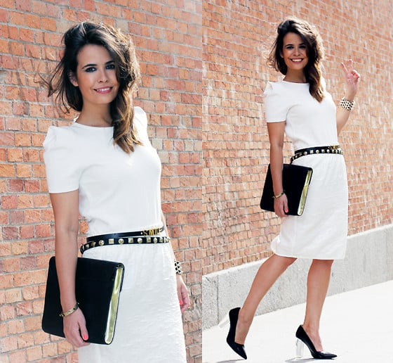Give your work-appropriate LWD a sophisticated twist. A sleek black clutch and studded black belt should do the trick.  Photo courtesy of Lookbook.nu