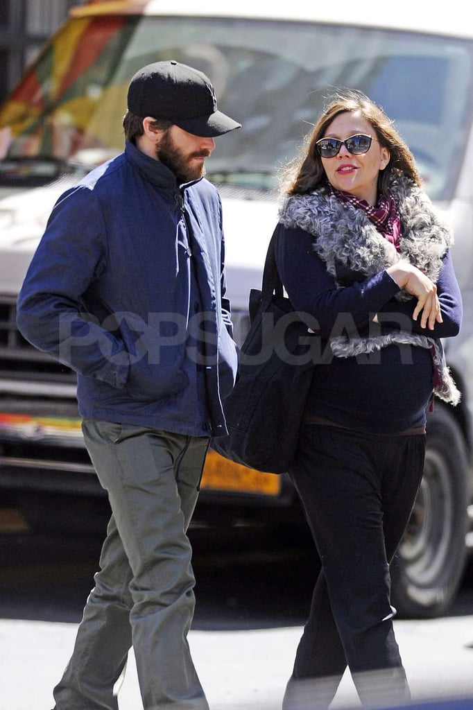 A very pregnant Maggie Gyllenhaal stepped out with bearded brother Jake Gyllenhaal for a stroll in NYC.