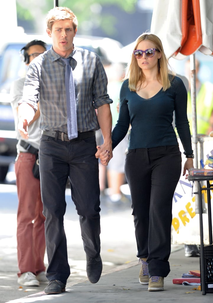 Chris Lowell and Kristen Bell on the set of the Veronica Mars movie.