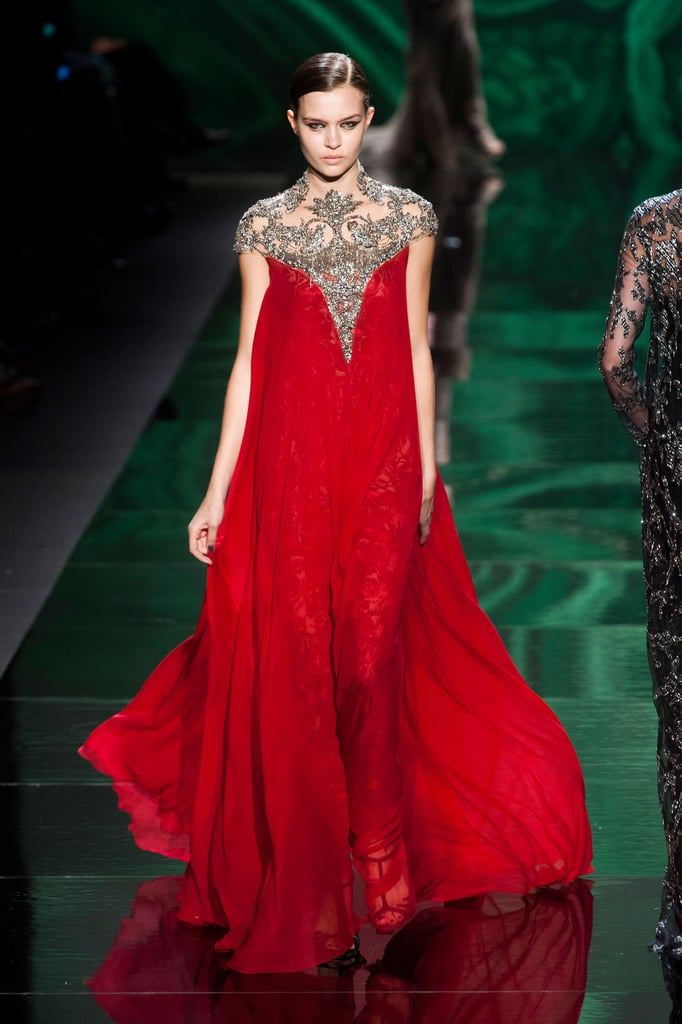 There isn't anything we don't love about this incredible crimson gown from Monique Lhuillier's Fall runway — while red on the red carpet can be tricky, we'd love to see someone take the risk at the Oscars.
