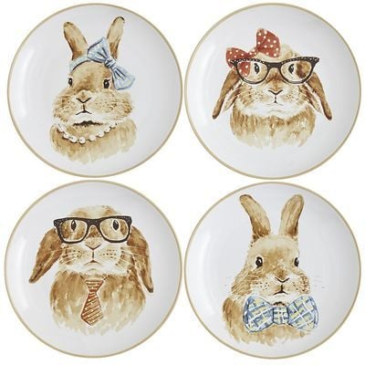Easter Bunny Faces Plate Set