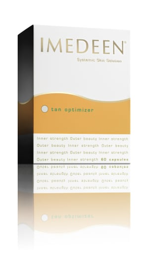 Beauty Blog Product Review Imedeen Tan Optimizier. Skin Supplement Capsules Protect Skin in Sun. Look Younger