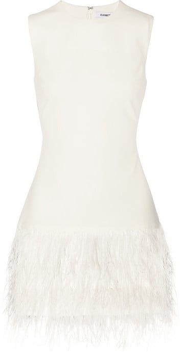 Elizabeth and James Feather-Trimmed Minidress