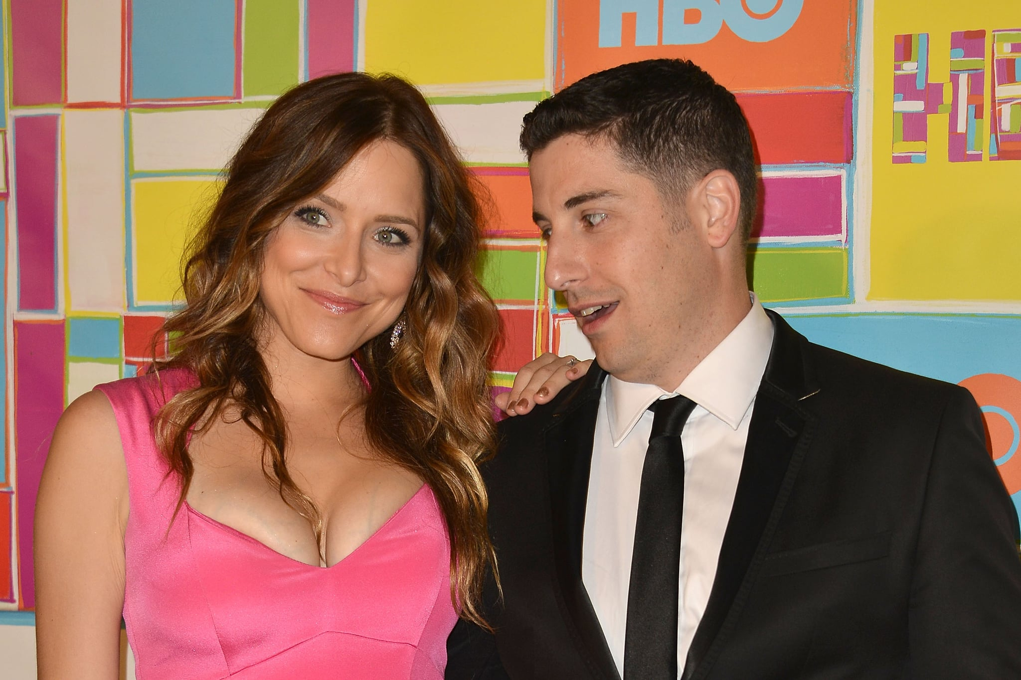 Jason Biggs couldn't keep his eyes off wife Jenny Mollen's cleavage at the HBO party.