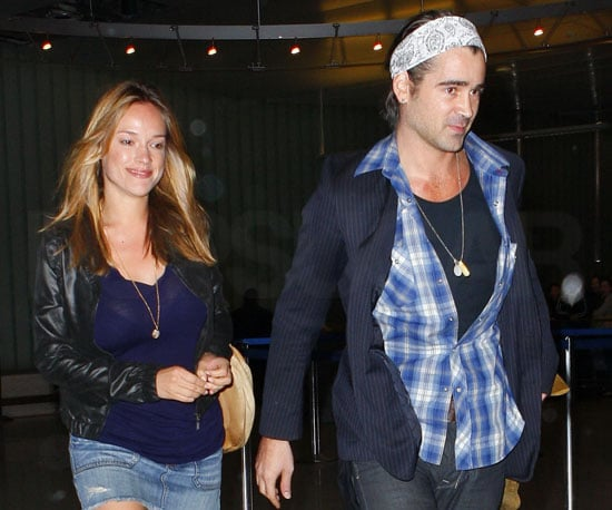 Slide Photo of Colin Farrell and Alicja Bachleda Arriving at LAX