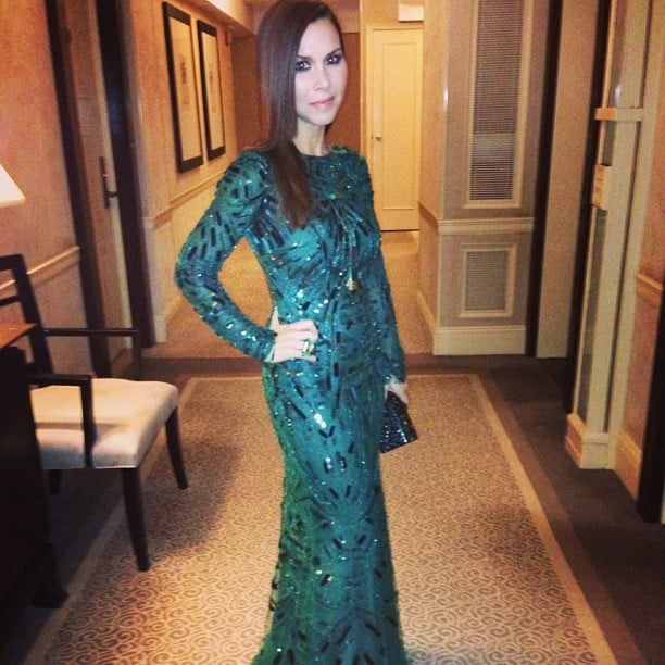 Monique Lhuillier posed in her teal long-sleeved gown. Source: Instagram user moniquelhuillier