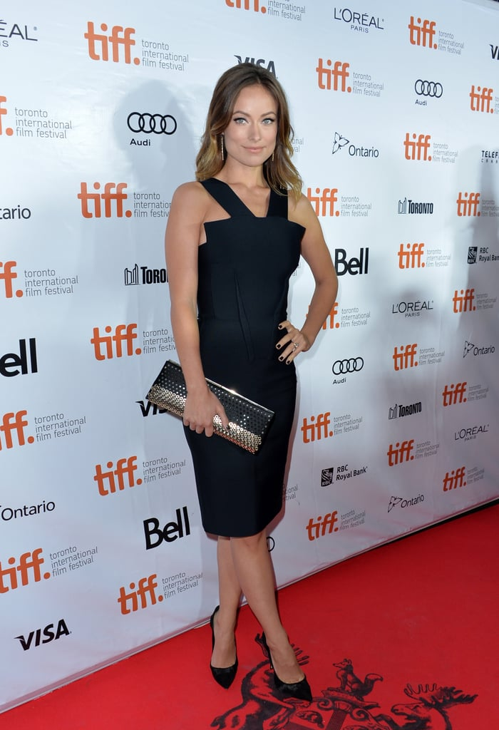 Olivia Wilde was classic with a twist in her little black Roland Mouret dress and Jimmy Choo accessories at the Rush premiere in Toronto.