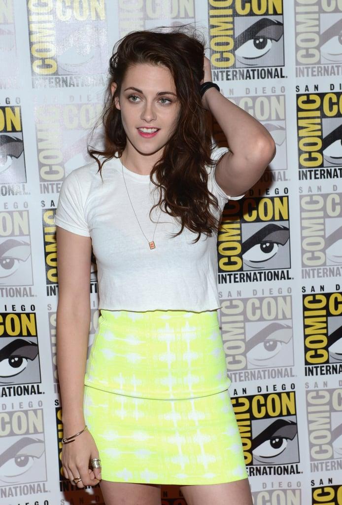 Kristen Stewart wore a tight outfit.