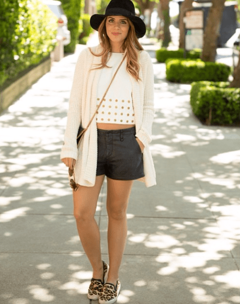 Part sporty, part sweet — add a cute cropped top to leather shorts and sneakers to mix up your off-duty look.  Source: Instagram user juliahengel