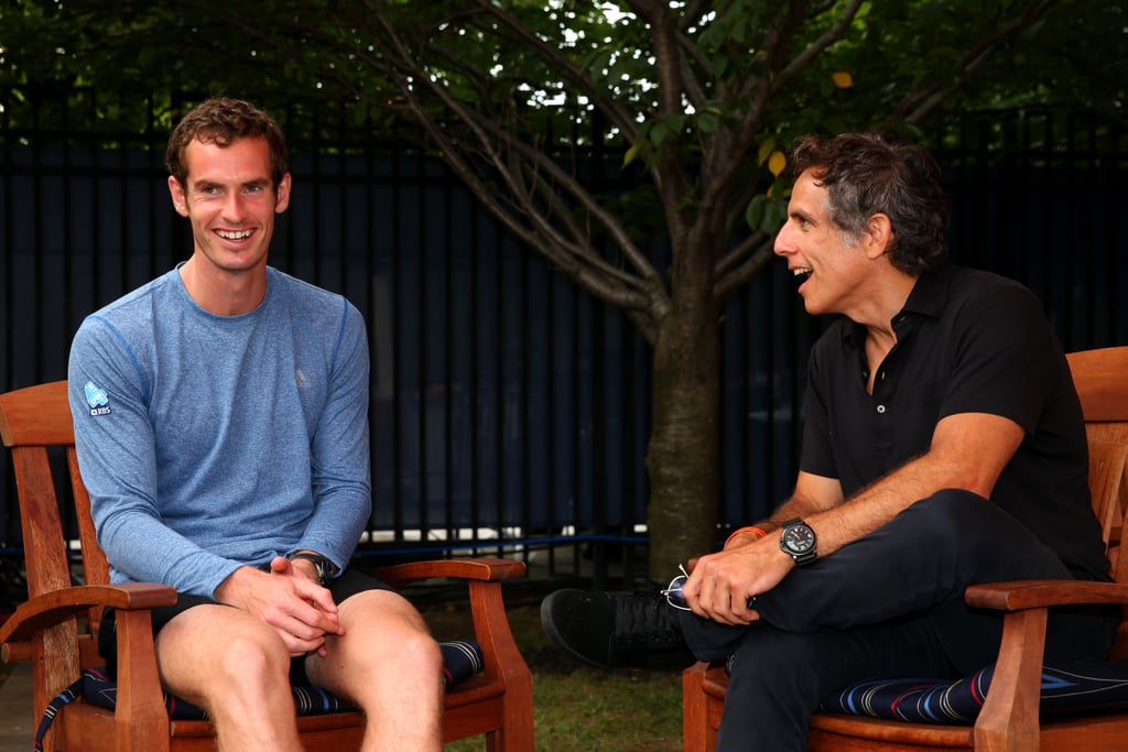 Tennis star Andy Murray chatted with Ben Stiller at the US Open.