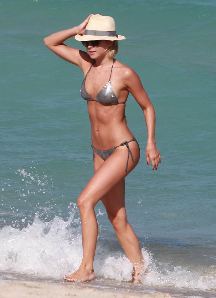 Julianne Hough took a dip in the ocean during an April stop in Miami.