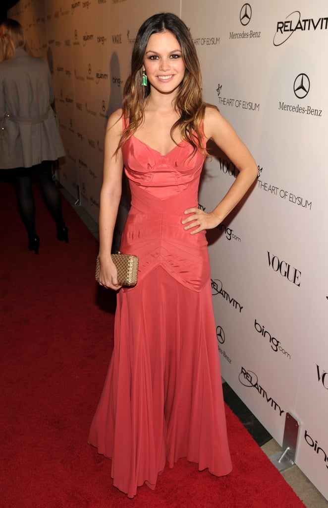Rachel Bilson donned Zac Posen and accessorized with a box clutch.