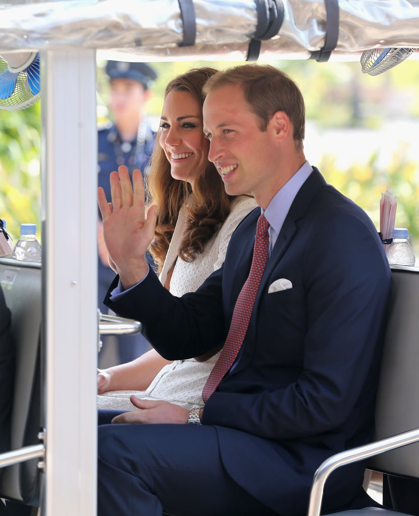 Kate Middleton and Prince William were transported by a golf cart through the Gardens by the Bay.