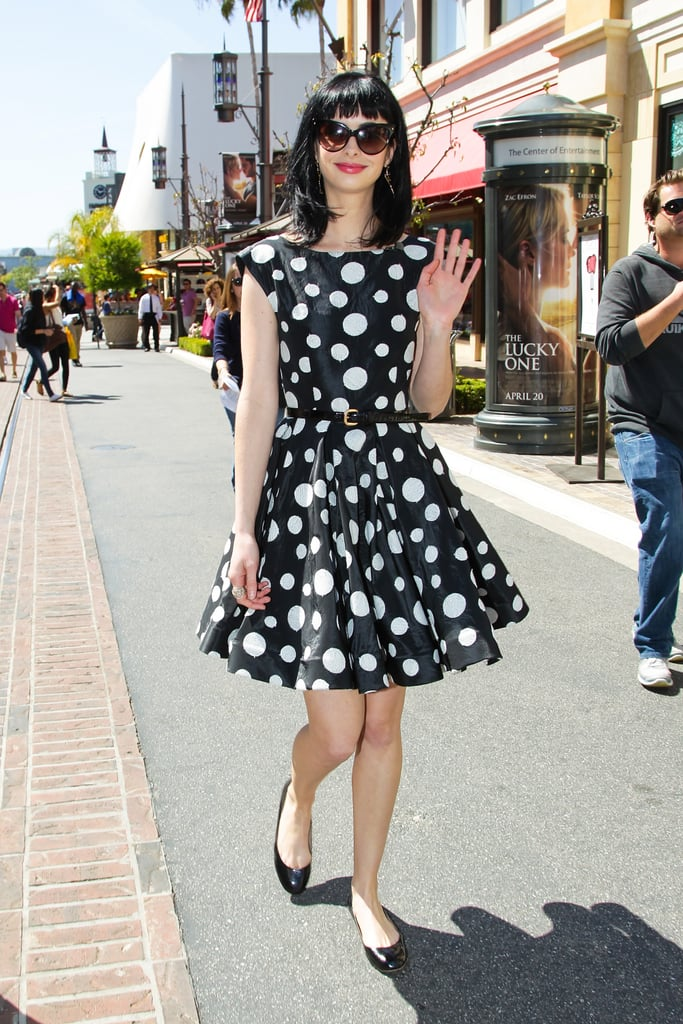 Krysten Ritter looked as retro cool as ever in a full-skirted polka-dot frock by Alice + Olivia. We love how she dressed it down with black flats and oversized sunglasses.  6943666