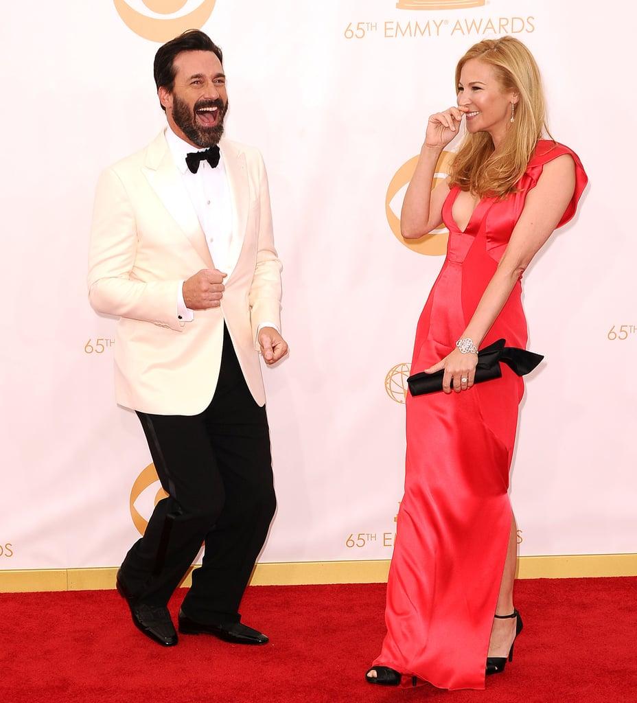 Jon Hamm got silly on the red carpet with Jennifer Westfeldt.